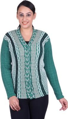 LAADLI JI Women's Button Solid, Striped Cardigan