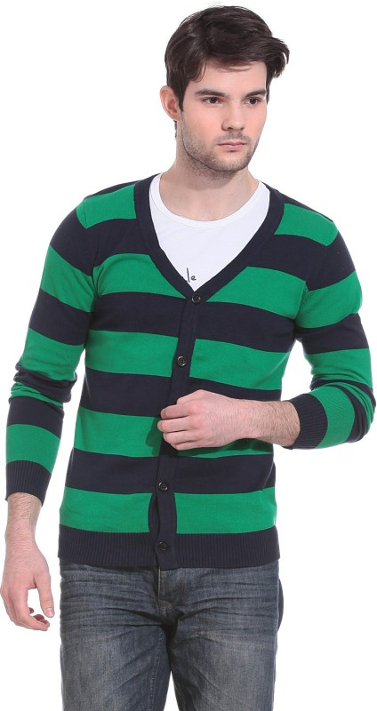 Saiints Men's Button Striped Cardigan