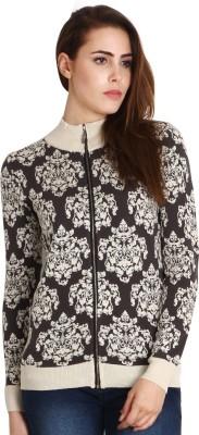 SOIE Women,s Zipper Printed Cardigan