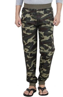 Leg-In Printed Men's Dark Green Track Pants