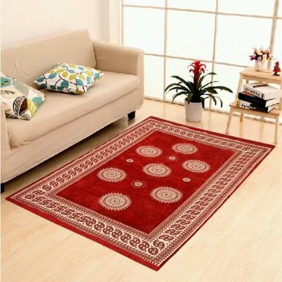 Uma Maroon Velvet Carpet(150 cm  X 210 cm) at flipkart