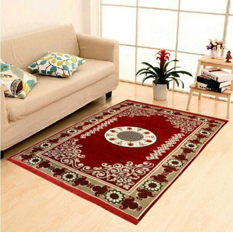 Naini Home Maroon Velvet Carpet(150 cm X 210 cm)