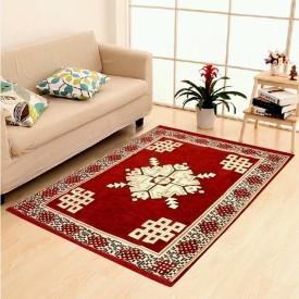 SHREE KHATU PRINTS Maroon Velvet Carpet(150 cm X 210 cm)