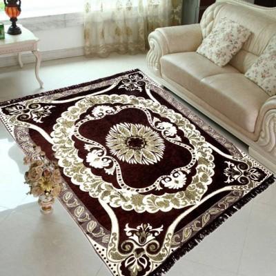 ABhomedecor Brown Chenille Carpet(135 cm X 215 cm)
