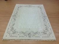 Shyam Cotsyn India Ltd. White Wool, Cotton Polyester Blend Carpet(160 cm  X 230 cm)