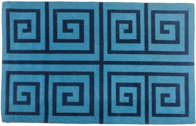 Indiesouq Dark Blue Cotton, Jute Area Rug