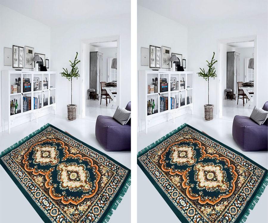 Aazeem Dark Green Polyester Carpet(152 cm X 215 cm)