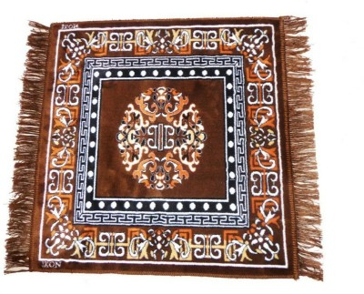 MR MACHROLI Brown Cotton Polyester Blend Carpet
