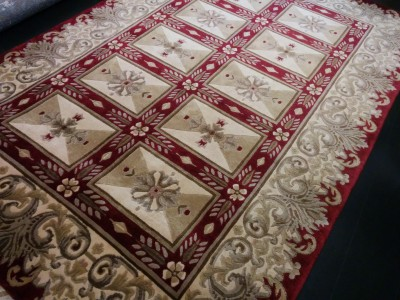 Carpet Couture Red, Beige, Gold Silk Area Rug