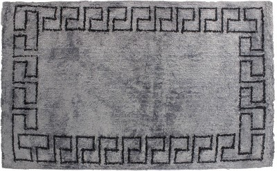 Indiesouq Grey, Black Viscose, Cotton Area Rug