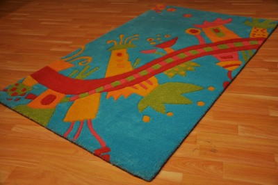 Carpet Couture Blue, Red, Orange Wool Area Rug