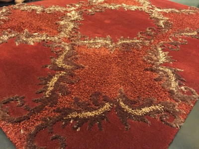 Carpet Couture Red, Orange Wool Area Rug