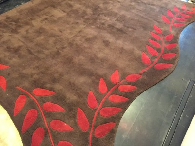 Carpet Couture Brown, Red Wool Area Rug