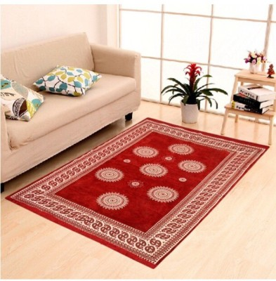 Gopal home furnishing Red Chenille Carpet