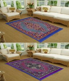 Supreme Home Collective Blue, Purple Polyester Carpet(137 cm X 198 cm)