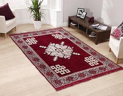 Gopal home furnishing Maroon Chenille Carpet