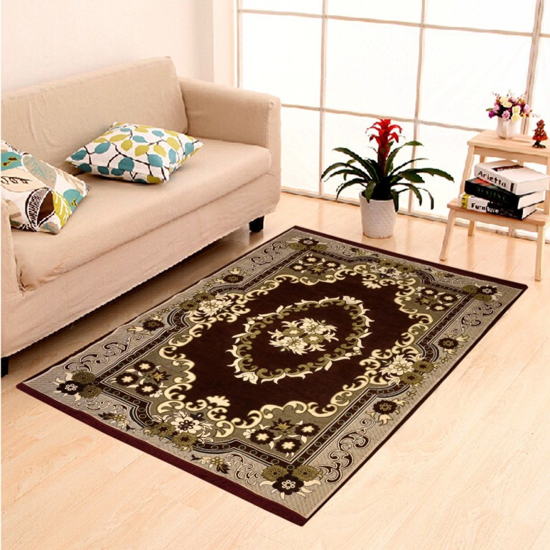 HOME ELITE Brown Chenille Carpet(140 cm X 204 cm)