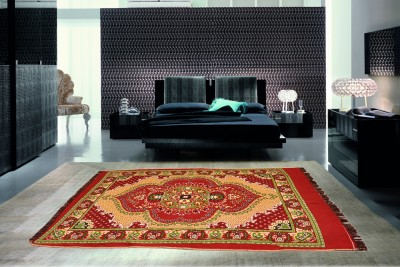 Optimistic Home Furnishing Red Polyester Carpet