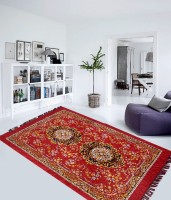 Home Elite Red Polyester Carpet(152 cm  X 214 cm)