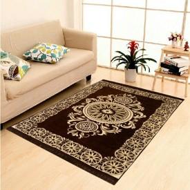 Naini Home Brown Velvet Carpet(150 cm X 210 cm)