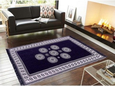 Gopal home furnishing Dark Blue Chenille Carpet