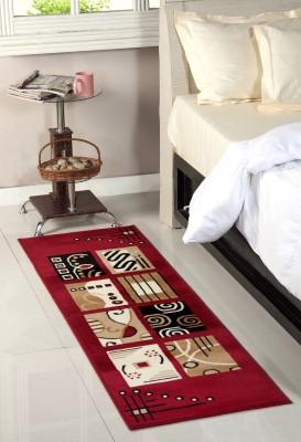 Fablooms Beige, Maroon Polypropylene Carpet