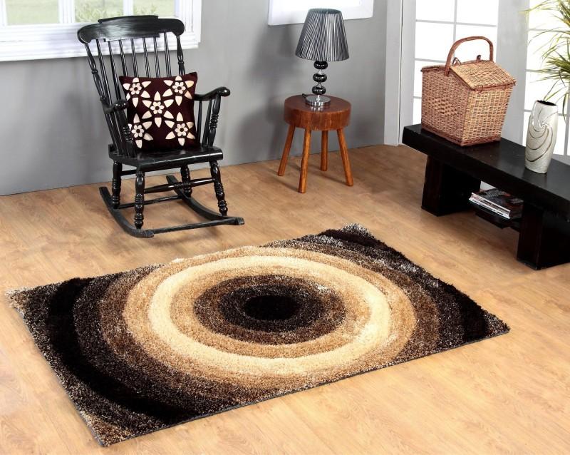 Excel Bazaar Beige Polyester Carpet(120 cm  X 180 cm)