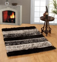 MY HOUSE Black Polyester Carpet(120 cm  X 180 cm)