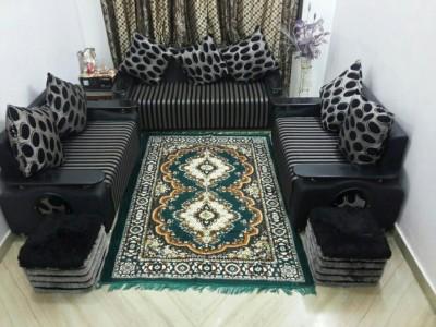 SHREE KHATU PRINTS Green Cotton Polyester Blend Carpet