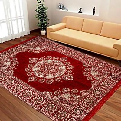 ABhomedecor Maroon Chenille Carpet(135 cm X 215 cm)