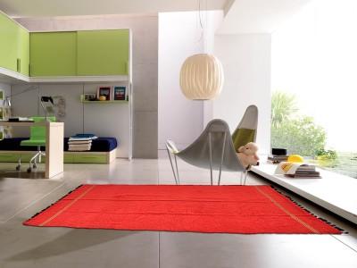 Laxmi Syntex Pvt. Ltd. Red Polyester Dhurrie