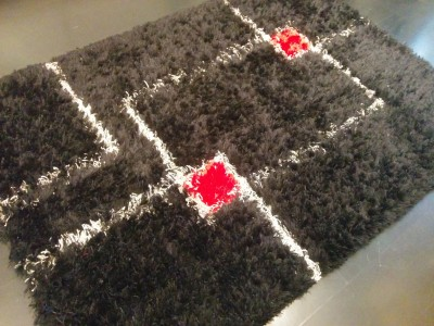 Carpet Couture Black, White, Red Wool Area Rug