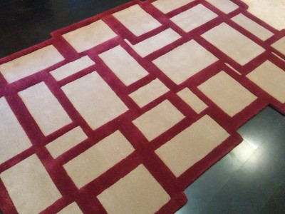 Carpet Couture Beige, Red Silk Area Rug