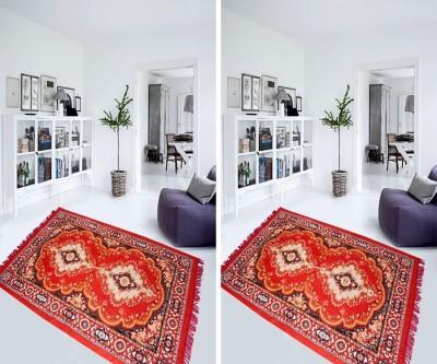 Aazeem Red Polyester Carpet(152 cm X 215 cm)