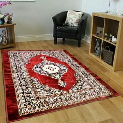 SHREE KHATU PRINTS Maroon Chenille Carpet