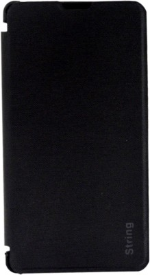 COVERNEW Flip Cover for Intex Cloud String HD(Black)