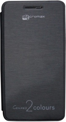 Chevron Flip Cover for Micromax Canvas 2 Colors A120 (Black)