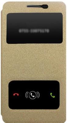 Karpine Flip Cover for Lenovo A6000 (Gold)