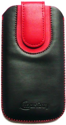 Emartbuy Pouch for Meizu Pro 6(Black / Red Plain)