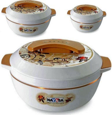 Nayasa Elegance Big Pack of 3 Casserole Set(800 ml, 1500 ml, 2000 ml) at flipkart