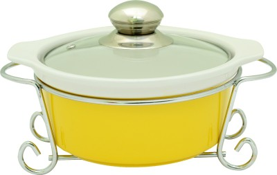 Rosa Italiano GUSTO CERAMIC HANDI (Serving Bowl) With Glass Lid & Chrome Finished Metal Stand Casserole(1350 ml)