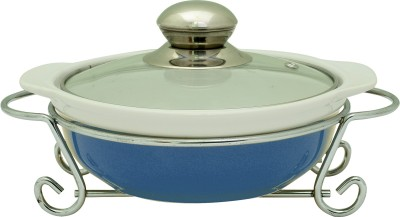 Rosa Italiano GUSTO CERAMIC HANDI (Serving Bowl) With Glass Lid & Chrome Finished Metal Stand Casserole(1000 ml)