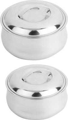Homeish Stainless Steel Insulated Casserole Set of 2 (1.2 Ltrs and 1.8 Ltrs) Pack of 2 Casserole Set(1800 ml)