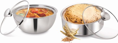 NanoNine Meal Serve S.S. Chapati-Curry Pot Combo1, Pack of 2 Casserole Set(1.65 L)