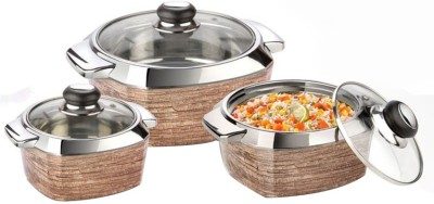 Nayasa Impulse Brown Insulated Pack of 3 Casserole Set