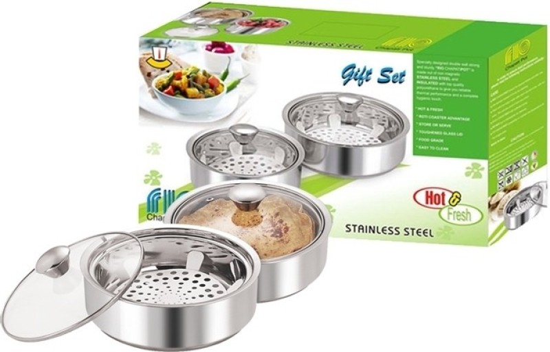 NanoNine Rio Chapati Pot Pack of 2 Casserole Set(1950 ml)