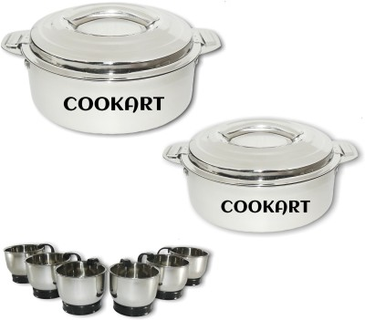 Cookart Elegant S.S. Tea & Coffee Cups With Hot Pot Pack of 8 Casserole Set