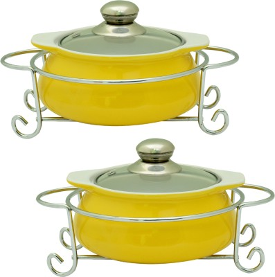Rosa Italiano GUSTO CERAMIC HANDI (Serving Bowl) pack of 2 With Glass Lid & Chrome Finished Metal Stand Pack of 2 Casserole Set(1000 ml)