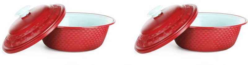 Cutting Edge Carnation Casserole, Set of 2, 1800 ml, Red Pack of 2 Casserole Set Carnation Casserole, Set of 2, 1800 ml, Red