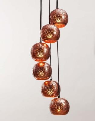 Orange Tree Soma Cluster of 6 Copper Pendants Ceiling Lamp